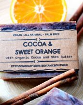 A real treat for your washtime, the Cocoa and Sweet Orange Handmade Soap is made with high-quality fair trade Organic Cocoa Butter and Shea Butter scented with pure Orange, Clove and Cinnamon essential oils.