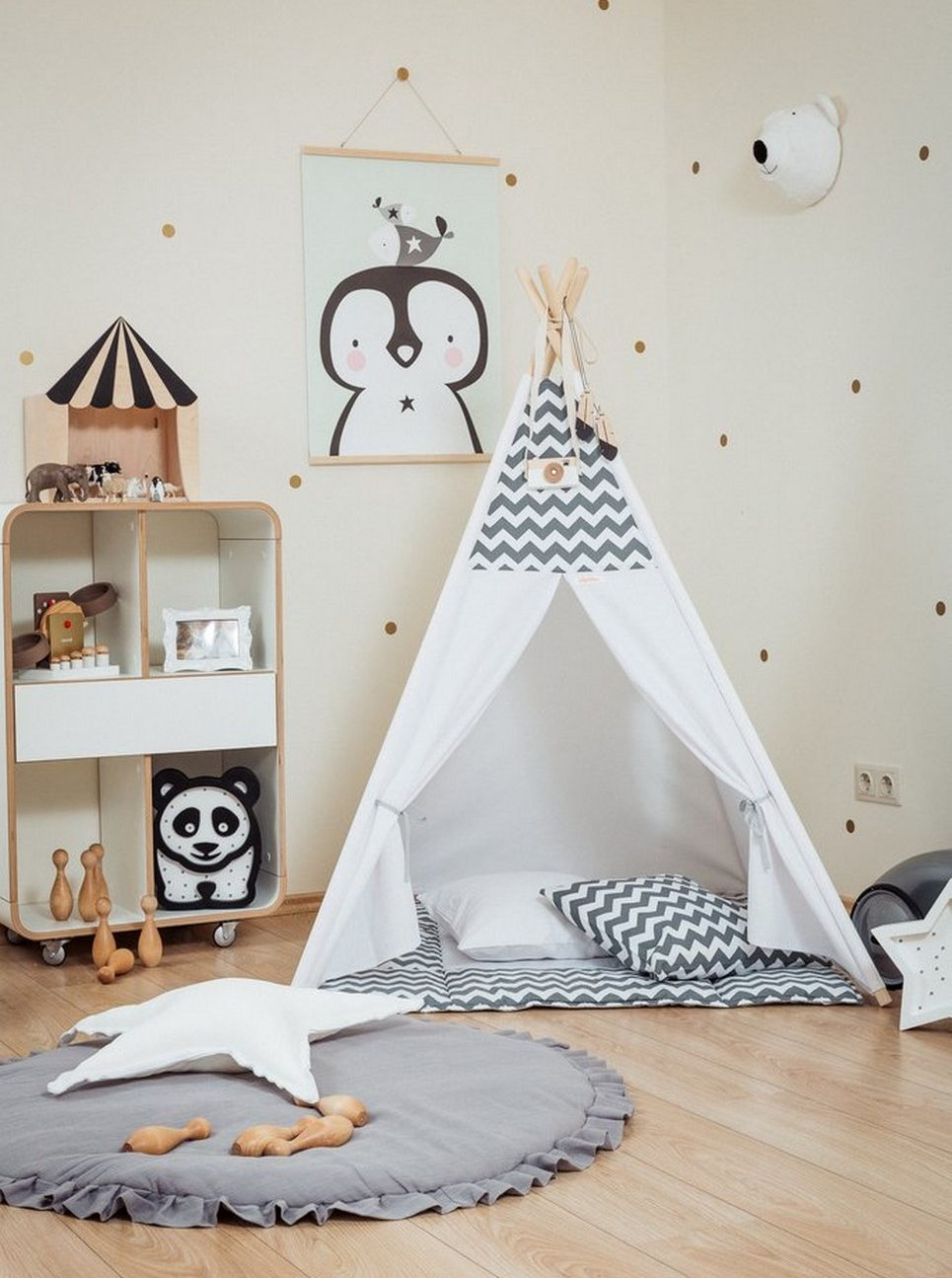 Grey Chevron Children's Teepee Set