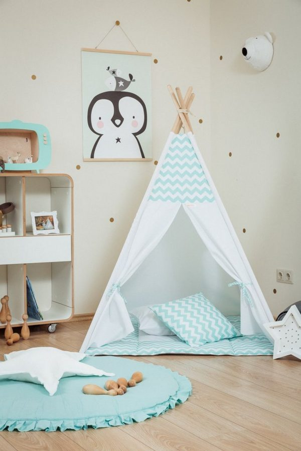 Mint Chevron Children's Teepee Set_2