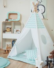 Let your little ones create their own little world with the Mint Chevron Children's Teepee Set. It creates the perfect setting for imaginative role play providing endless hours of fun.