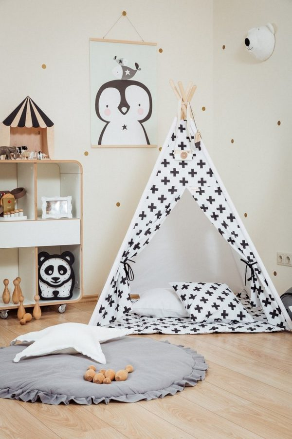 Monochrome Cross Children's Teepee Set_2