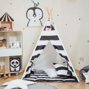 Let your little ones create their own little world with the Monochrome Stripes Children's Teepee Set. It creates the perfect setting for imaginative role play providing endless hours of fun.