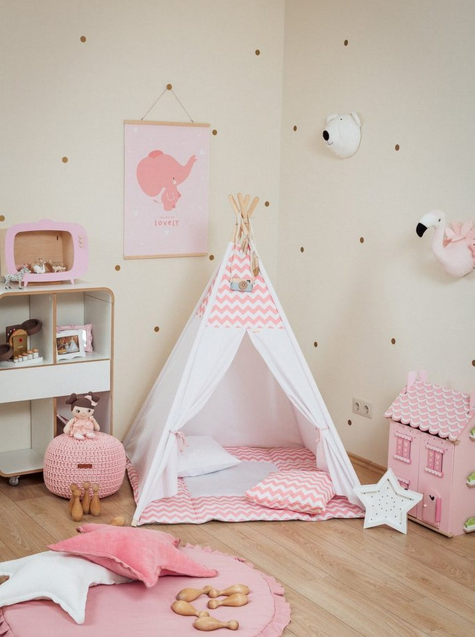 Pink Chevron Children's Teepee Set_2