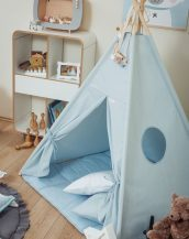 Let your little ones create their own little world with the Plain Blue Children's Teepee Set. It creates the perfect setting for imaginative role play providing endless hours of fun.