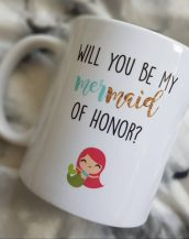 Sip your favourite tea or coffee with the Will You Be My Mermaid Of Honor Coffee Mug that makes a fantastic present or a little treat for yourself.