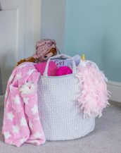 A practical home accessory for a child's bedroom, the Grey Gingham Toy Storage Basket is the perfect storage solution for keeping those runaway toys, books, shoes or laundry at bay.