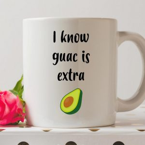 Sip your favourite tea or coffee with the I Know Guac Is Extra Coffee Mug that makes a fantastic present or a little treat for yourself.