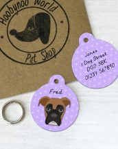A lovely little gift for a pet owner or a stocking filler, the Boxer Dog Personalised Pet Name ID Tag provides the ideal accessory for your beloved pets.
