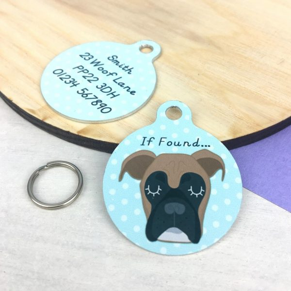 Boxer Dog Personalised Pet Name ID Tag