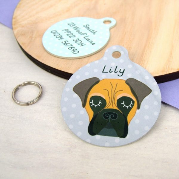 BullMastiff Dog Personalised Pet Name ID Tag