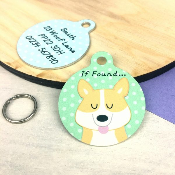 Corgi Dog Personalised Pet Name ID Tag
