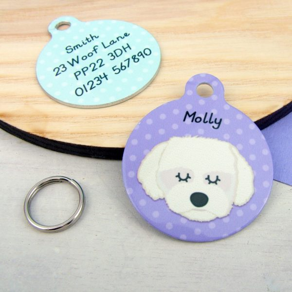 Maltese Terrier Dog Personalised Pet Name ID Tag