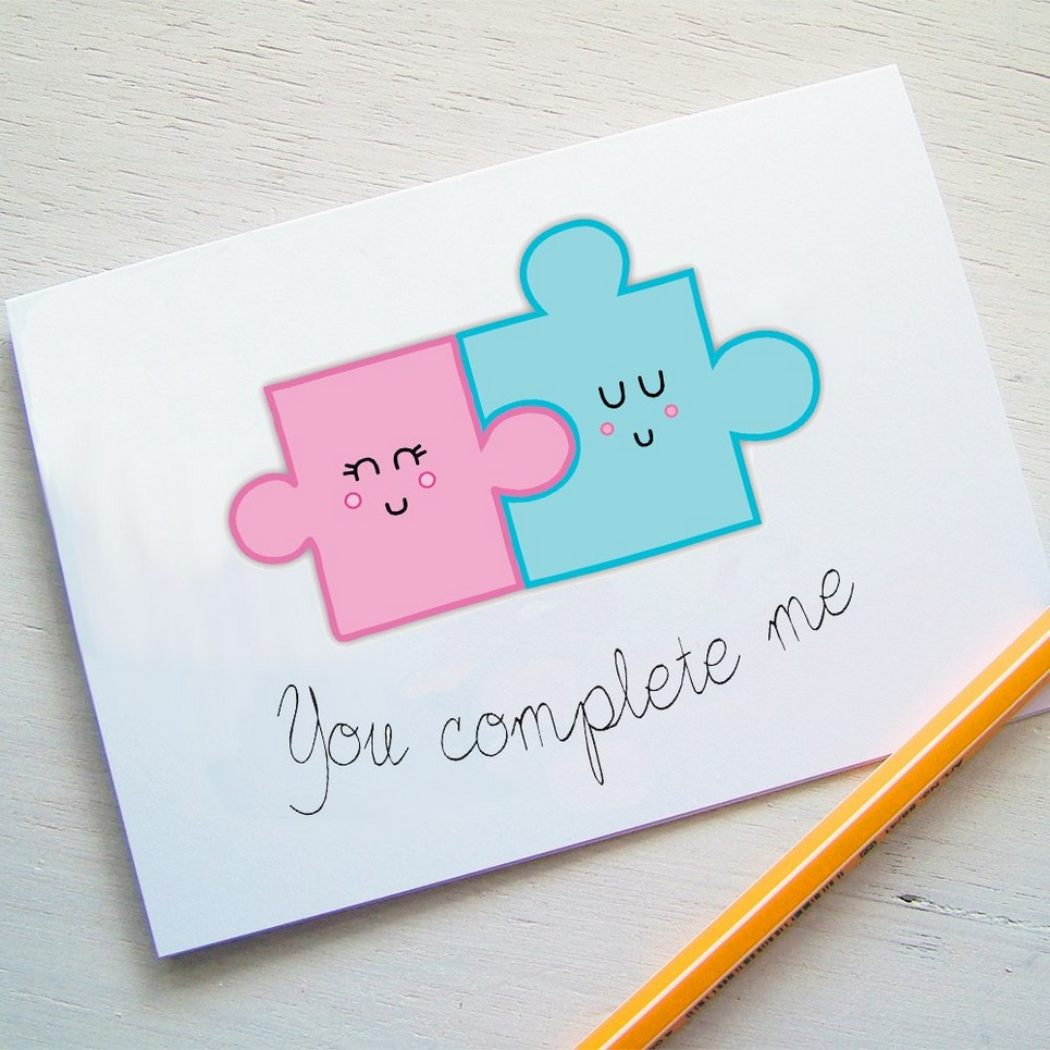 You Complete Me Jigsaw Valentines Card Unique Valentines Day