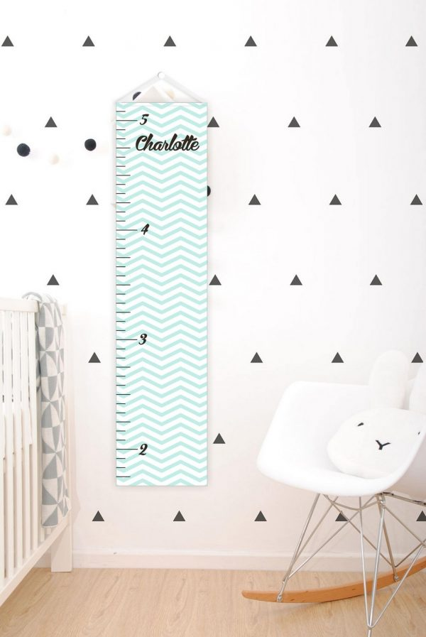 Aqua Chevron Personalised Baby Growth Chart – 1
