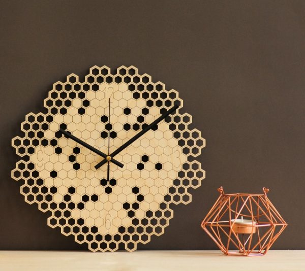 Hexagon Wooden Wall Clock