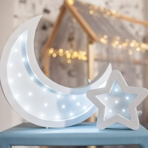 Perfect for setting a calm moon in your kid's bedroom, the Moon and Star Decorative Night Lights give a soft glow when turned on.