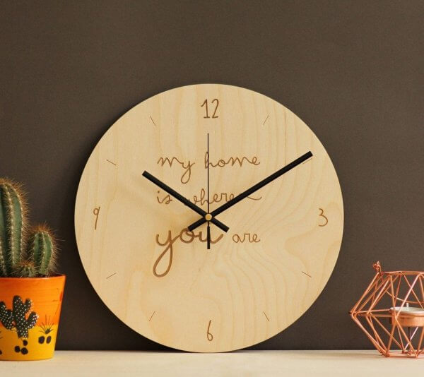 My home is where you are – Wooden Wall Clock – 3