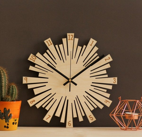 Small Sunburst Wooden Wall Clock – 5