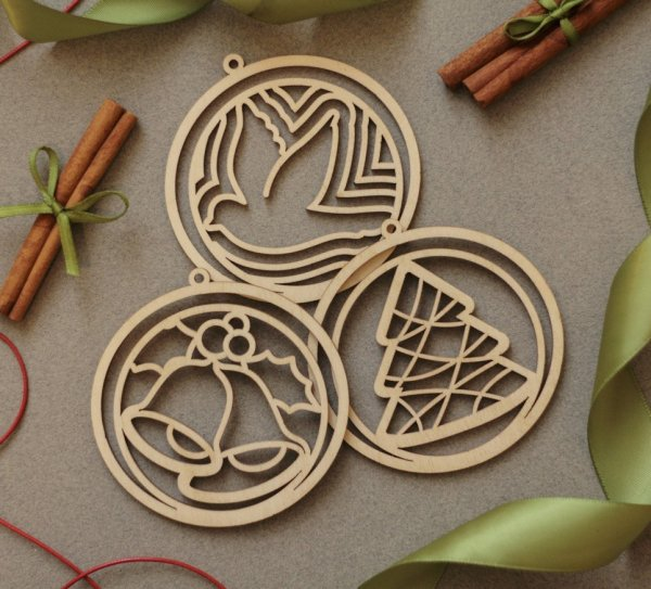 Set of 12 Laser Cut Ornaments – Christmas Ornaments – 4
