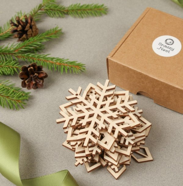Set of 12 Wooden Snowflakes – Christmas Ornaments – 5