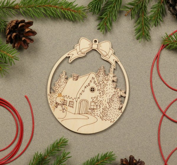 Snow House Wooden Christmas Ornament – 2