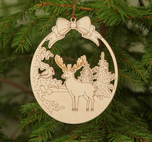 Wooden Deer Christmas Ornament – 2