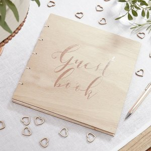 A brilliant anniversary or wedding gift for a couple or your partner, the Wooden Rose Gold Foiled Guest Book is a fantastic gift that will be cherished for years to come.