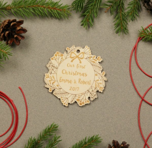 Wreath Couple Gift – Personalised Christmas Ornament – 2