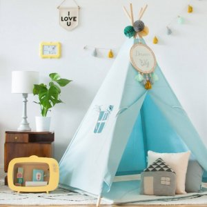 The perfect setting for imaginative play, the Classic Mint Children's Teepee is as good to look at as to play in. It can easily be used inside your home or in the garden as well as on the terrace.