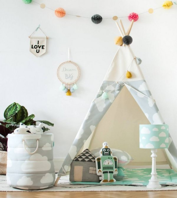 Grey Clouds Children's Teepee