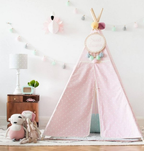 Lovely Dots Pink & Grey Children's Teepee