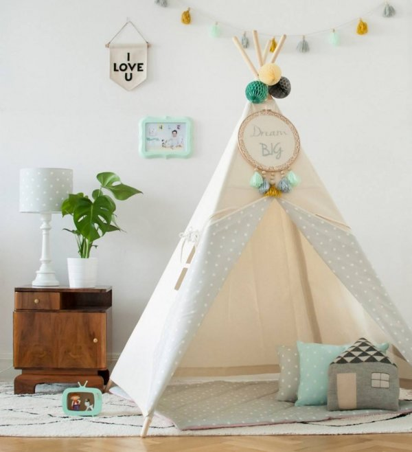 Natural & Dots Grey Children's Teepee
