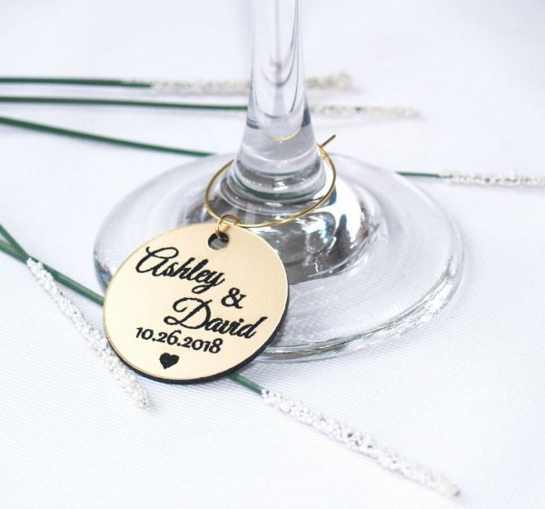 Personalised Gold Wedding Wine Charm – 6