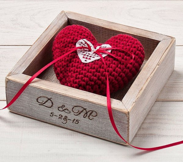 Personalised Red Heart Wedding Ring Box – 2