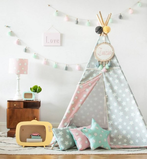 Pink & Grey Stars Children's Teepee