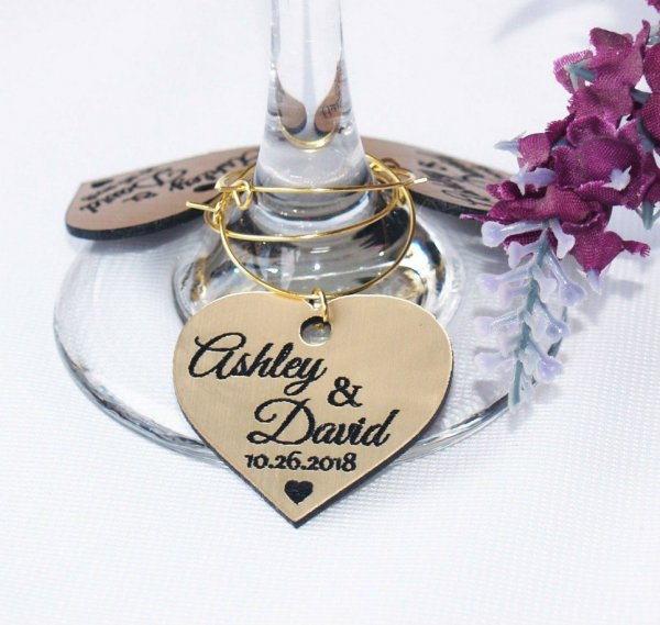 Personalised Gold Heart Wedding Wine Charm – 6