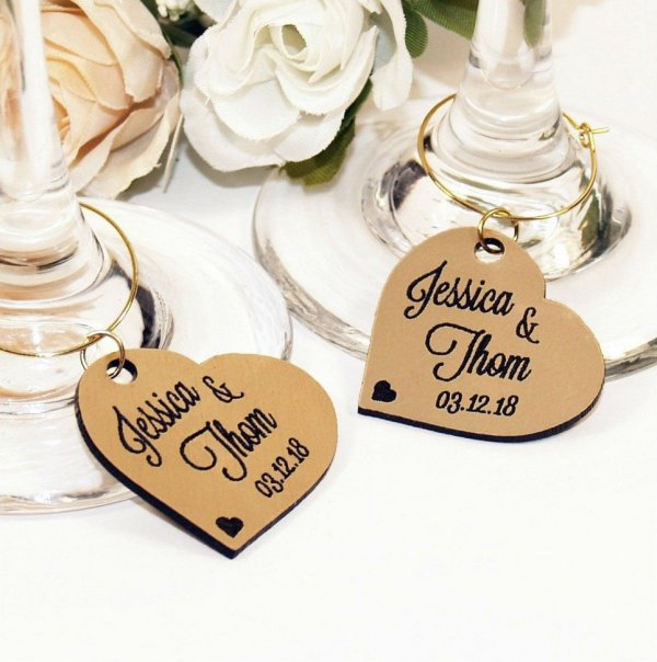 Personalised Gold Heart Wine Glass Charm – 4
