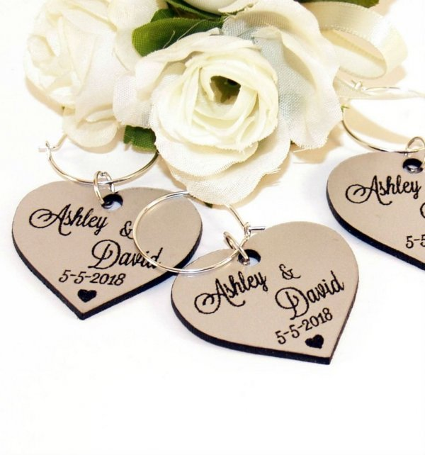 Personalised Silver Heart Wedding Wine Charm – 5