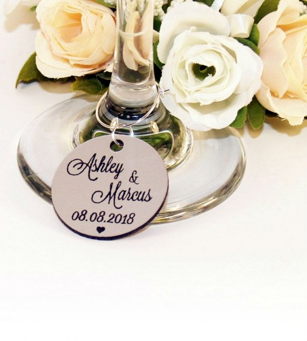 Personalised Silver Round Wedding Wine Charm – 3