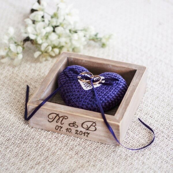 Personalised Violet Heart Wedding Ring Box