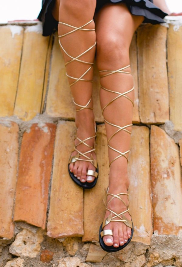 Amphitrite Gold and Black Greek Leather Sandal – 3