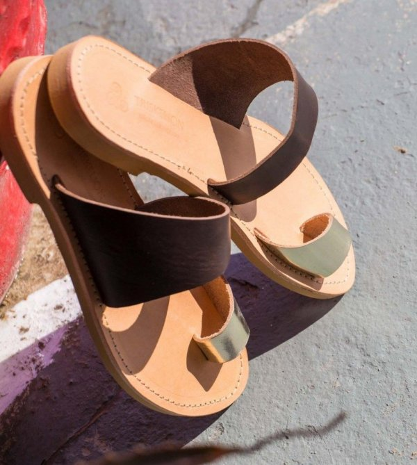 Harmonia Brown and Gold Greek Leather Sandal – 1