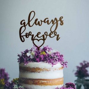 A lovely way to make your special cake unique, the 'Always Forever' Wedding Cake Topper can be personalised to add to what should be a day of joy and happiness!