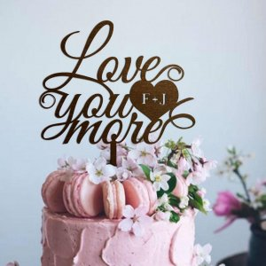A lovely way to make your special cake unique, the 'Love You More' Wedding Cake Topper can be personalised to add to what should be a day of joy and happiness!