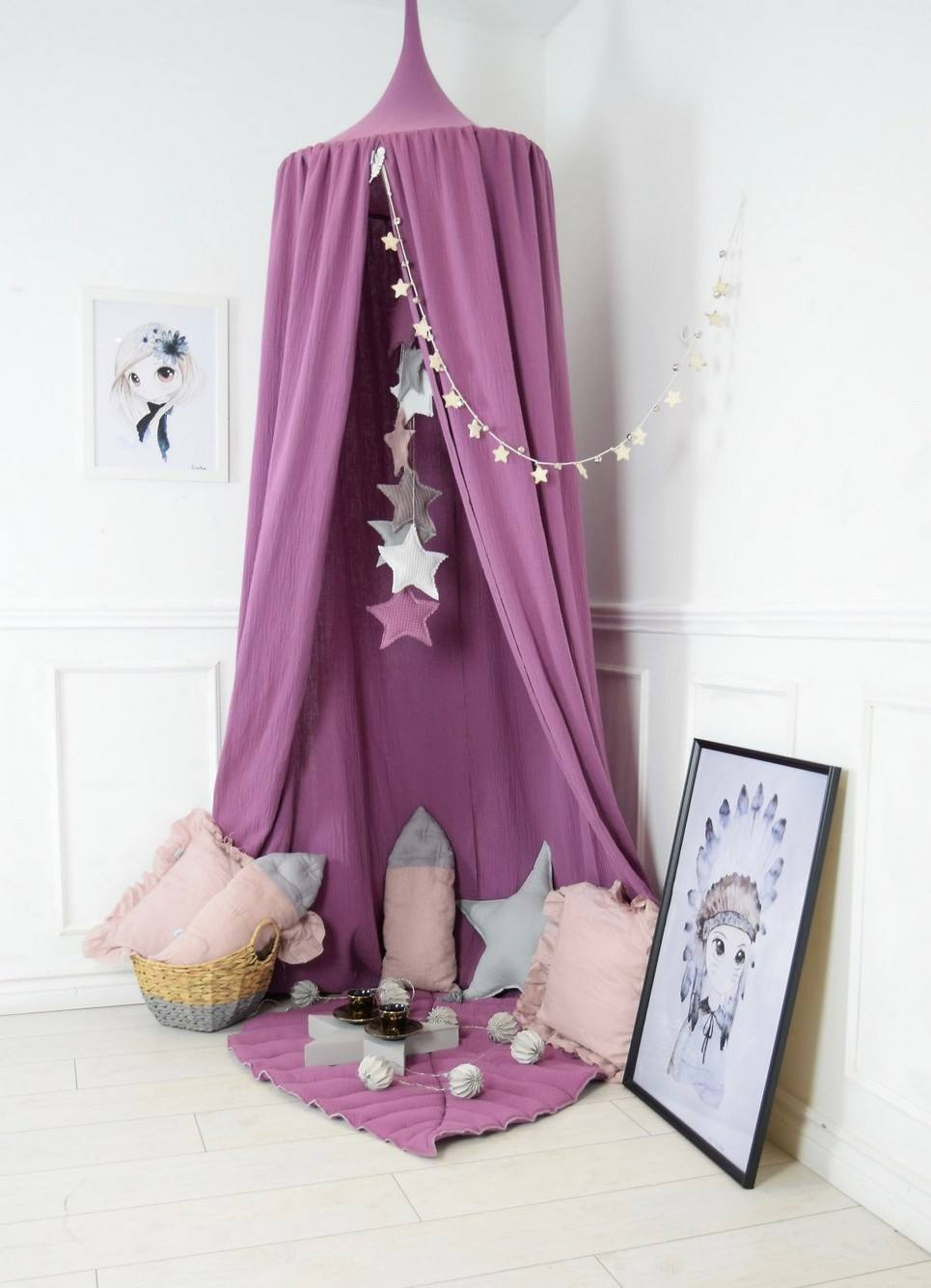 - BALDACHIN BLUEBERRY PINK CHILDREN'S BED CANOPY Unique Bed