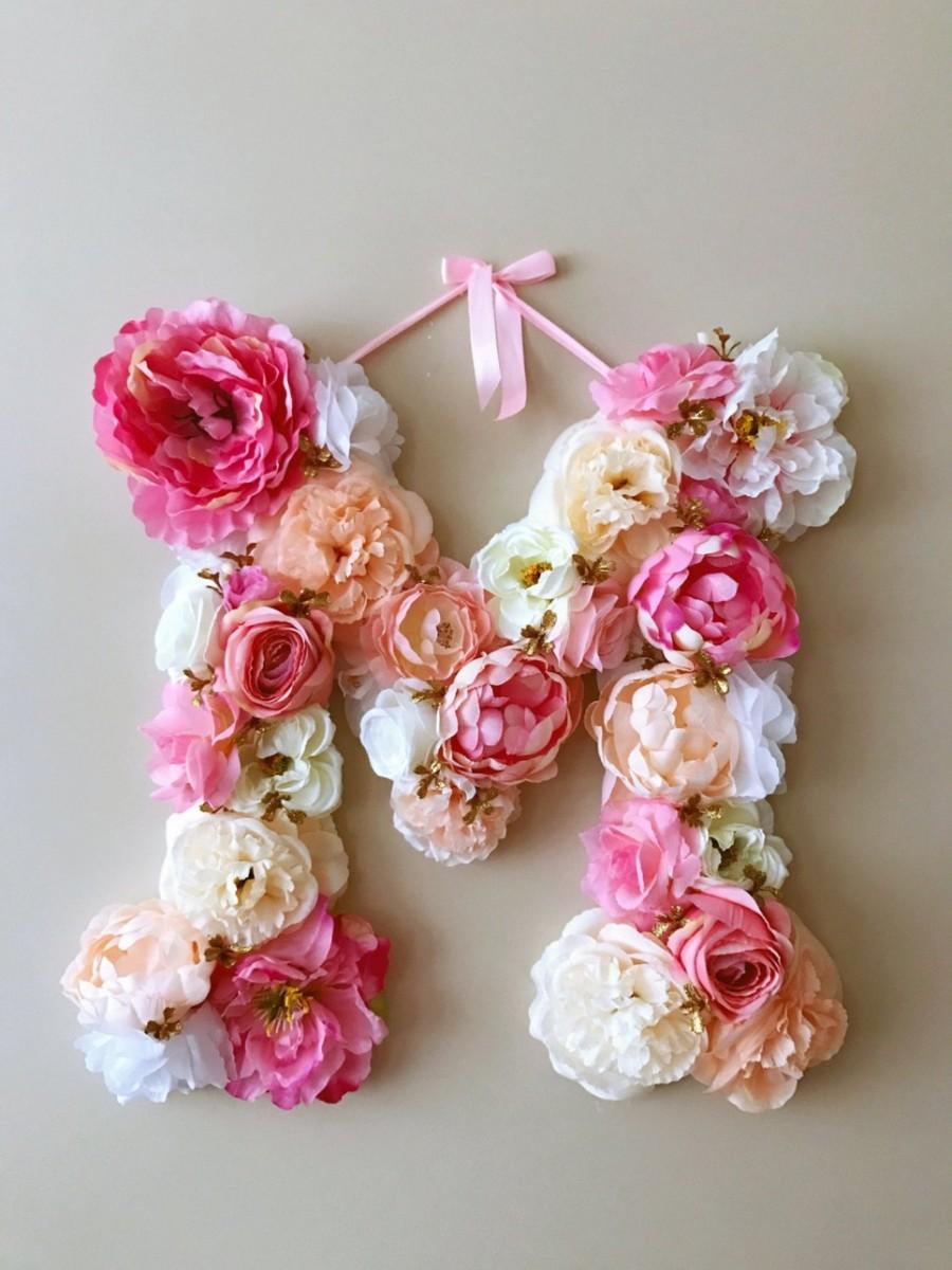 Bright Coral Pink Custom Flower Letter Personalised Flower Letter