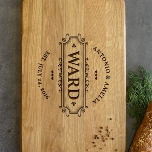 Ideal for use as a small chopping, the Personalised Monogrammed Cutting Board - Ward makes a beautiful centrepiece for your table.