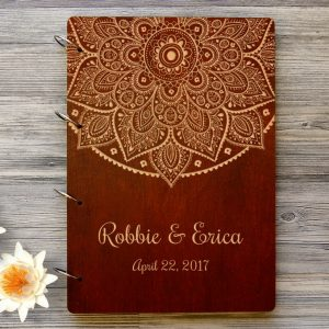 Available in A4 and A5 size, the Personalised Wooden Wedding Guest Book - Mandala is a beautiful Wedding Guest Book made of wood that will accurately keep your memories about this special day.