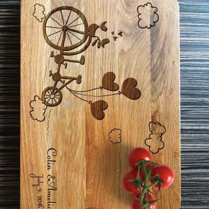 Ideal for use as a small chopping, the Personalised Cutting Board - Tandem Bike makes a beautiful centrepiece for your table.