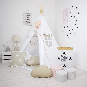 Add the perfect touch to your child's room with the Ice Beige Children's Teepee Tent. Let your little enjoy their own teepee for hours of play time and imagination.